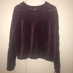 Xhilaration Velour and Lace Sweatshirt
